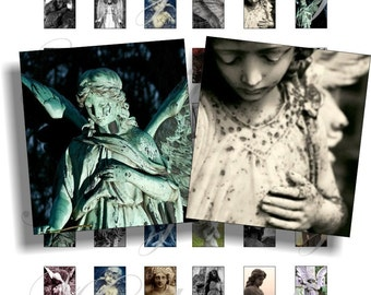 Gothic Angels for scrabble pendant, scrapbook and more Size 0.75x0.83 inch Digital Collage Sheet No.283