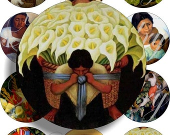 Diego Rivera paintings images large circles for pocket mirrors and more digital collage sheet No.362