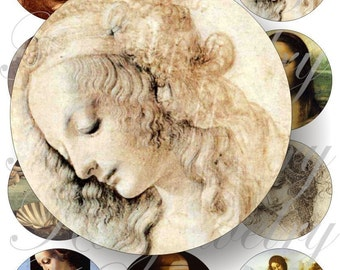 Da Vinci images for pocket mirrors and more -digital collage sheet no. 98