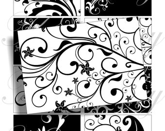Black and white swirl design for 3 1/4 x 2 1/4 inches belt buckle, scrapbook and more Digital Collage Sheet No.468