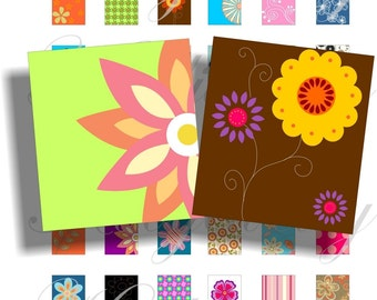 Flower party for scrabble pendant, scrapbook and more Size 0.75x0.83 inch Digital Collage Sheet No.375