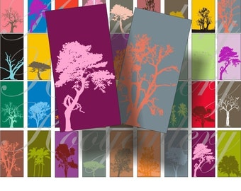 Tree silhouette Domino size digital collage sheet No.46