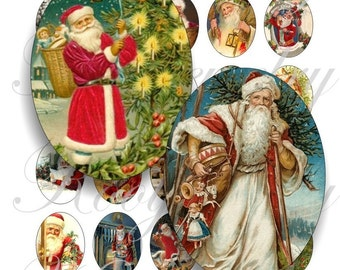 Vintage Santa 40x30mm oval images for charms, pendant, buttons, scrapbook and more Vintage Digital Collage Sheet No.460