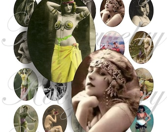 Belly dancer 40x30mm oval images for charms, pendant, buttons, scrapbook and more Vintage Digital Collage Sheet No.567