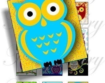 Owl Party images on a 4x6 Sampler Sheet for scrabble pendant, scrapbook and more Digital Collage Sheet No.291