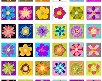 Super cute flowers 1x1 inch for pendant, scrapbook and more Digital Collage Sheet No.33