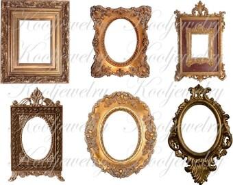 Victorian golden frames images images for cards, scrapbook and more Digital Collage Sheet No.219