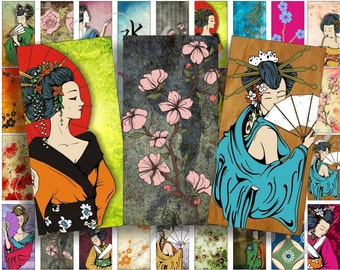 Beautiful geishas Domino size 2 x 1 inches for pendant, scrapbook and more - Digital Collage Sheet No.564
