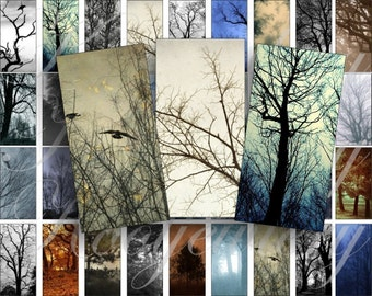 Dark trees Domino size 2 x 1 inches for pendant, scrapbook and more - Digital Collage Sheet No.315