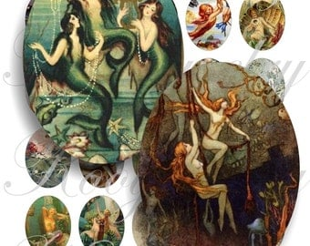 Vintage Mermaids 40x30mm oval images for charms, pendant, buttons, scrapbook and more Vintage Digital Collage Sheet No.423
