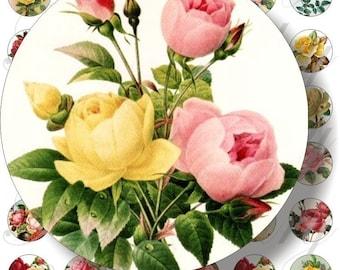 Vintage roses for bottle caps, pendant, buttons, scrapbook and more Vintage Digital Collage Sheet No.162