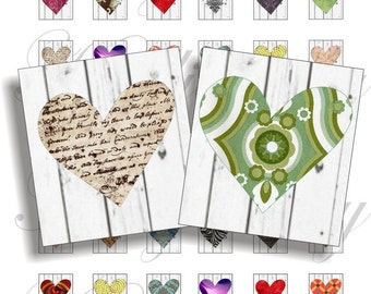 Crazy hearts for scrabble pendant, scrapbook and more Size 0.75x0.83 inch Digital Collage Sheet No.580