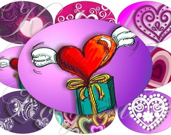 Lovely Hearts images large oval for belt buckle and more digital collage sheet No.614