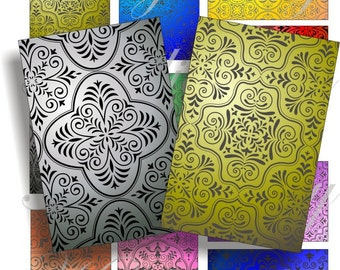 Arabesque designs images for cards, ACEO, ATC, scrapbook and more Digital Collage Sheet 3 X 2 inch No.634