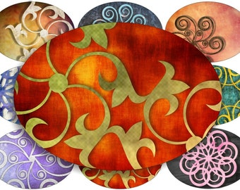 Tatto swirls designs large oval for belt buckle and more digital collage sheet No.658