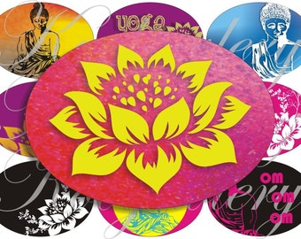 Yoga images large oval for belt buckle and more digital collage sheet No.664
