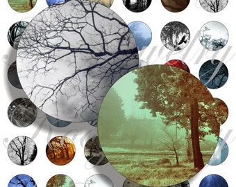 Dark trees for bottle caps, pendant, buttons, scrapbook and more Vintage Digital Collage Sheet No.673