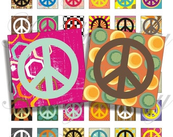 Crazy Peace 1x1 inch images for pendant, scrapbook and more Digital Collage Sheet No.715