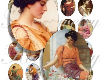 John William Godward images 40x30mm oval images for charms, pendant, buttons, scrapbook and more Vintage Digital Collage Sheet No.736
