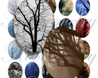 Dark trees 40x30mm oval images for charms, pendant, buttons, scrapbook and more Vintage Digital Collage Sheet No.767