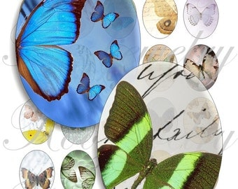 Lovely butterflies 40x30mm oval images for charms, pendant, buttons, scrapbook and more Vintage Digital Collage Sheet No.770
