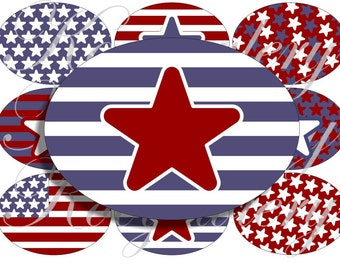 All american flag in large oval for belt buckle and more digital collage sheet No.797