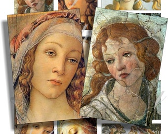 Boticelli Ladies for cards, ACEO, ATC, scrapbook and more Digital Collage Sheet 3 X 2 inch No.798