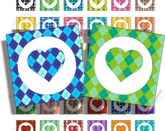 Argely hearts 1x1 inch for pendant, scrapbook and more collage sheet No.806