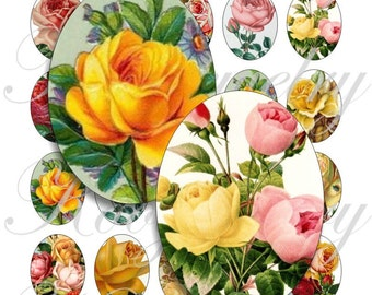 Vintage Roses  40x30mm oval images for charms, pendant, buttons, scrapbook and more Vintage Digital Collage Sheet No.831
