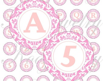 Pink damask alphabet images 1 inch Circles for Bottle cap pendants and Pebble magnets No. 855