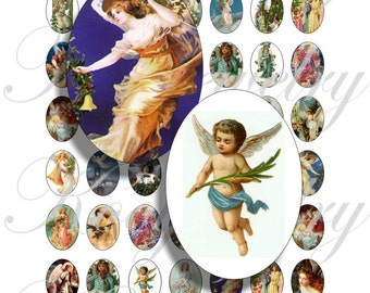 Vintage angels images 18x25mm oval images for charms, pendant, buttons, scrapbook and more Vintage Digital Collage Sheet No.867