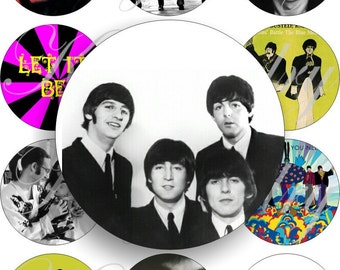 The Beatles 4 in large circles for pocket mirrors and more -digital collage sheet no. 860