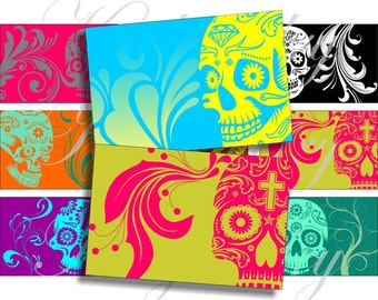Bright colors sugar skulls images for cards, ACEO, scrapbook and more Digital Collage Sheet 3 X 2 inch No.880