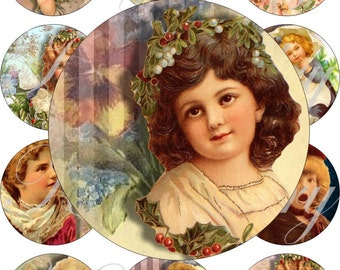 Cute vintage girls images large circles for pocket mirrors and more digital collage sheet No.892