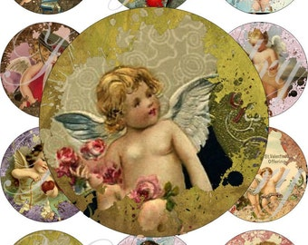 Funky cupids large oval for belt buckle and more digital collage sheet No.889
