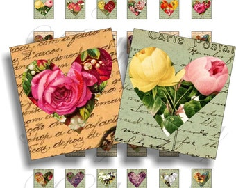 Shabby Chic hearts for scrabble pendant, scrapbook and more Size 0.75x0.83 inch Digital Collage Sheet No.899