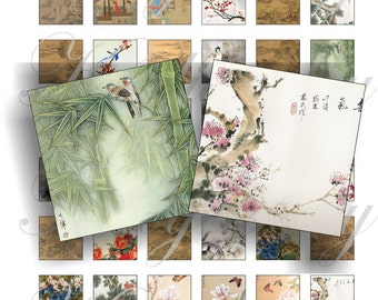 Chinese paintings 1x1 inch for pendant, scrapbook and more collage sheet No.904