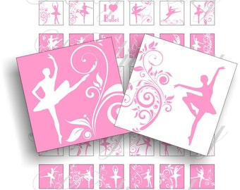Pink and white ballet images 1x1 inch for pendant, scrapbook and more Digital Collage Sheet No.916