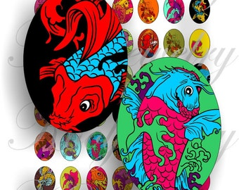 Koi fish images 18x25mm oval images for charms, pendant, buttons, scrapbook and more Vintage Digital Collage Sheet No.924
