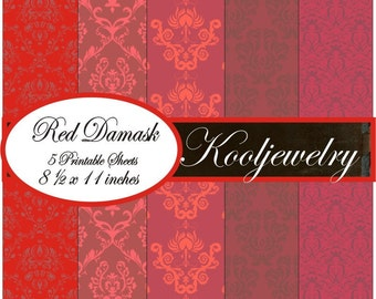 Red damask paper pack - No.48