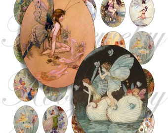 Vintage fairy 40x30mm oval images for charms, pendant, buttons, scrapbook and more Vintage Digital Collage Sheet No.959