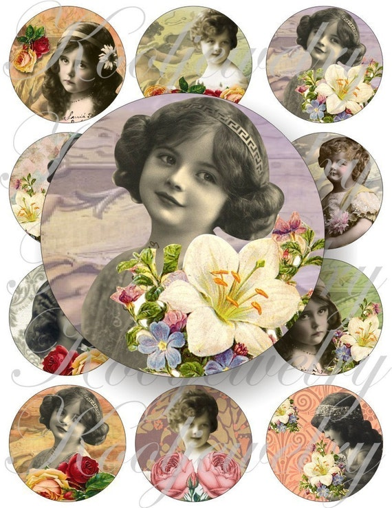 Exquisite vintage girls in large circles for pocket mirrors and more -digital collage sheet no. 111