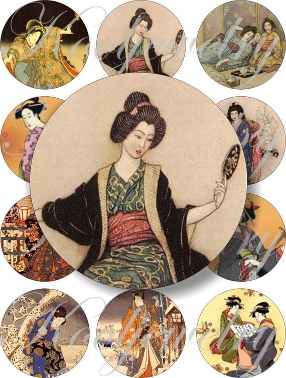 Vintage oriental images images large circles for pocket mirrors and more digital collage sheet No.228