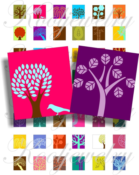 Lovely Trees for scrabble pendant, scrapbook and more Size 0.75x0.83 inch Digital Collage Sheet No.378