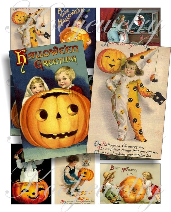 Vintage halloween images for cards, ACEO, ATC, scrapbook and more Digital Collage Sheet 3 X 2 inch No.464