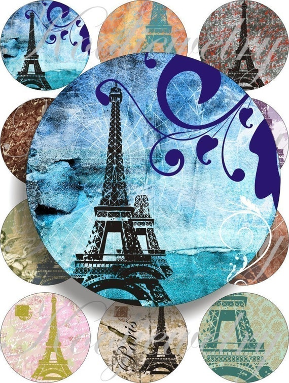 Colorfull Paris images large circles for pocket mirrors and more digital collage sheet No.214