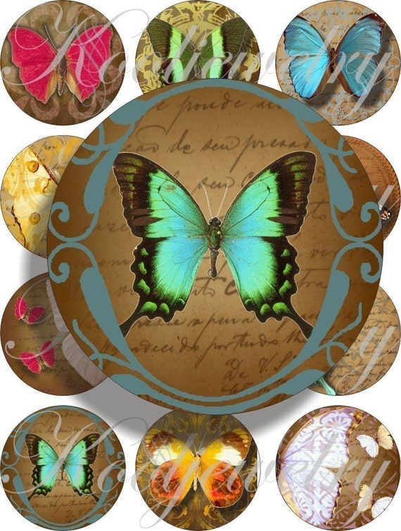 Romantic Butterflies images large circles for pocket mirrors and more digital collage sheet No.248