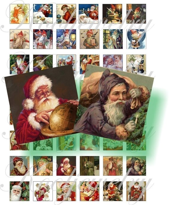 Vintage Santa 1x1 inch images for pendant, scrapbook and more collage sheet No.73