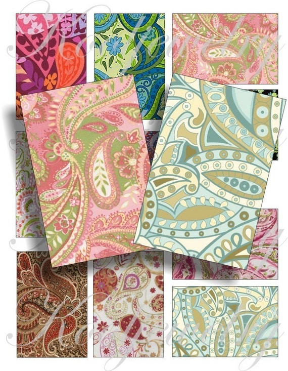 Paisley pattern images for cards, ACEO, scrapbook and more Digital Collage Sheet 3 X 2 inch No.280