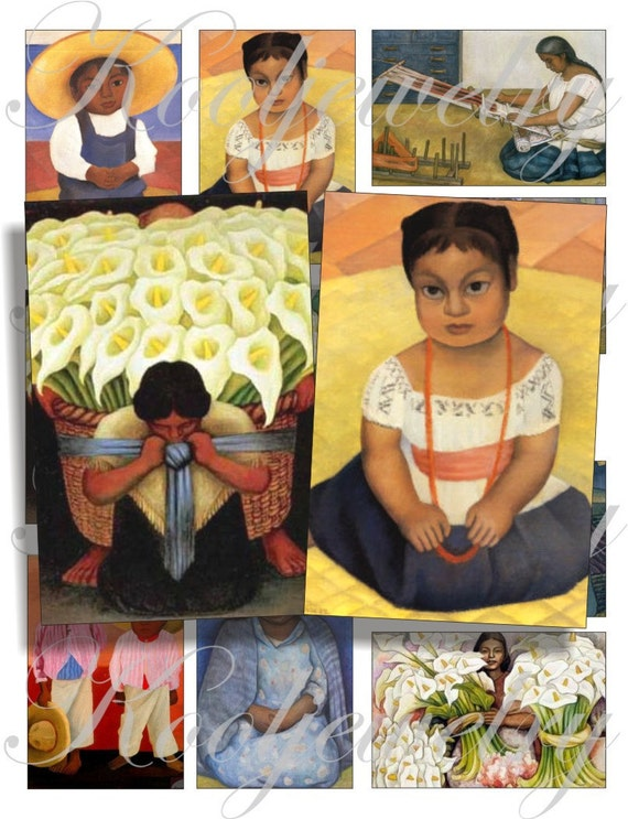 Diego Rivera images for cards, ACEO, ATC, scrapbook and more Digital Collage Sheet 3 X 2 inch No.751